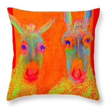 Funky Donkeys Art Prints Throw Pillow