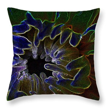 Funky Flower Throw Pillow by Judy Wolinsky