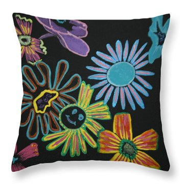 Funky Flowers Throw Pillow by Betty-Anne McDonald
