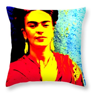 Throw Pillow featuring the mixed media Funky Frida IIi by Michelle Dallocchio