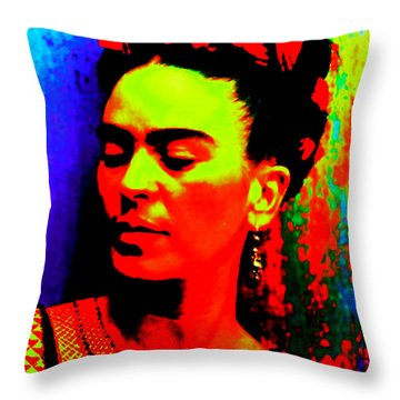 Throw Pillow featuring the mixed media Funky Frida by Michelle Dallocchio