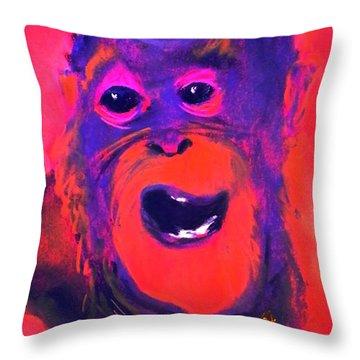 Funky Monkey Happy Chappy Throw Pillow