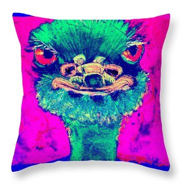 Funky Ostrich Cool Dude Art Prints Throw Pillow