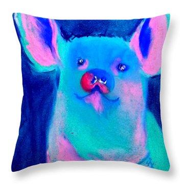 Funky Piggy Blue Throw Pillow