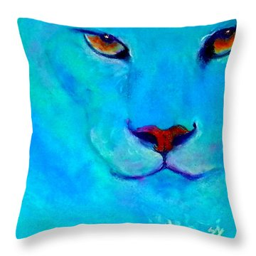 Funky Snow Leopard Turquoise Throw Pillow
