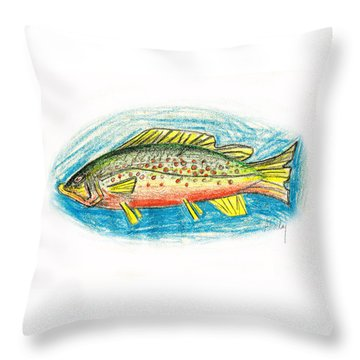 Funky Trout Throw Pillow