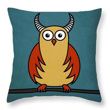 Funny Cartoon Horned Owl  Throw Pillow