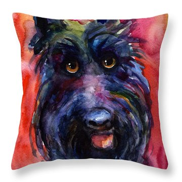 Funny Curious Scottish Terrier Dog Portrait Throw Pillow by Svetlana Novikova