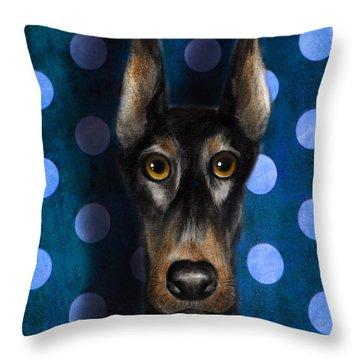 Funny Doberman Pincher Gentleman Dog Portrait Throw Pillow by Svetlana Novikova