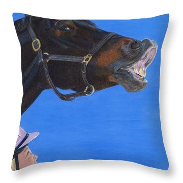 Funny Face - Horse And Child Throw Pillow by Patricia Barmatz