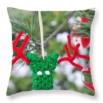 Throw Pillow featuring the photograph Funny Reindeer Ornament On Pine Tree by Marianne Campolongo