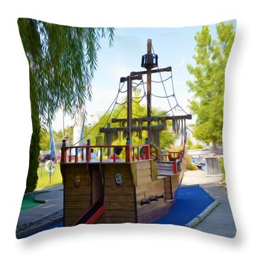 Funplex Funpark Boat 9 Throw Pillow by Lanjee Chee
