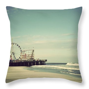 Funtown Pier Seaside Heights New Jersey Vintage Throw Pillow