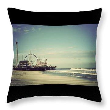 Funtown Pier Seaside Heights New Jersey Vintage Throw Pillow by Terry DeLuco