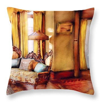 Furniture - Chair - The Queens Parlor Throw Pillow by Mike Savad