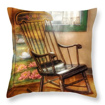 Furniture - Chair - The Rocking Chair Throw Pillow by Mike Savad
