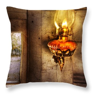 Furniture - Lamp - Kerosene Lamp Throw Pillow by Mike Savad