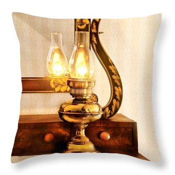 Furniture - Lamp - The Bureau And Lantern Throw Pillow by Mike Savad