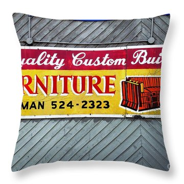 Throw Pillow featuring the photograph Furniture Sign by Ethna Gillespie