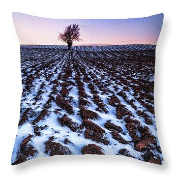 Furows In The Snow Throw Pillow by John Farnan