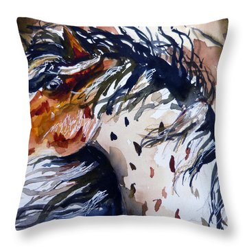 Throw Pillow featuring the painting Fury In The Wind by P Maure Bausch
