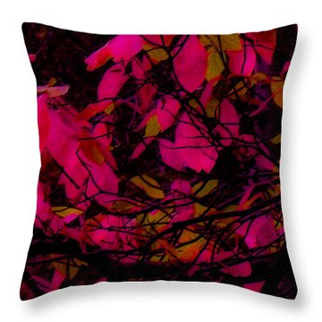 Throw Pillow featuring the digital art Fuscia Leaves by Kristen R Kennedy