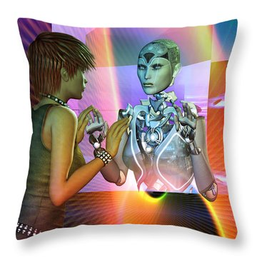 Throw Pillow featuring the digital art Futuristic Reality by Shadowlea Is