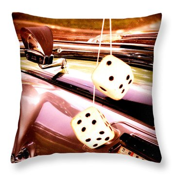 Fuzzy Dice Throw Pillow by Valerie Reeves
