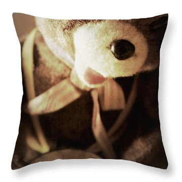 Fuzzy Drummer Throw Pillow by Trish Mistric