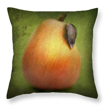 Throw Pillow featuring the digital art Fuzzy Pear by Nina Bradica