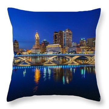 Fx2l530 Columbus Ohio Night Skyline Photo Throw Pillow