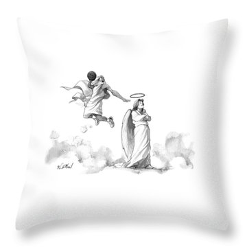 G-d Slam Dunks On An Angel's Halo Throw Pillow