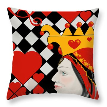 Throw Pillow featuring the painting Gabby Queen Of Hearts by Carol Jacobs