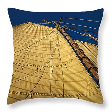Gaff Rigged Mainsail Throw Pillow by Marty Saccone