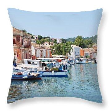 Gaios Harbour On Paxos Throw Pillow