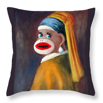 Gal With A Pearl Earbob Throw Pillow by Randy Burns