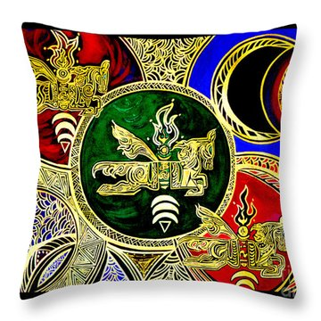 Galactic Windhorses Throw Pillow by Susanne Still