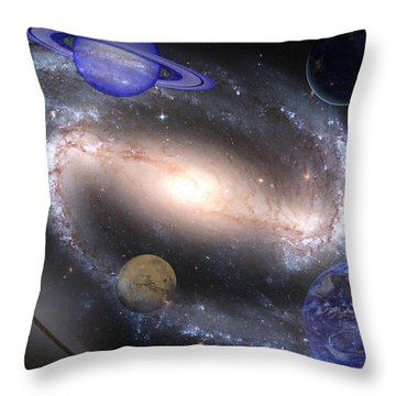 Galaxies And Planets Throw Pillow by J D Owen