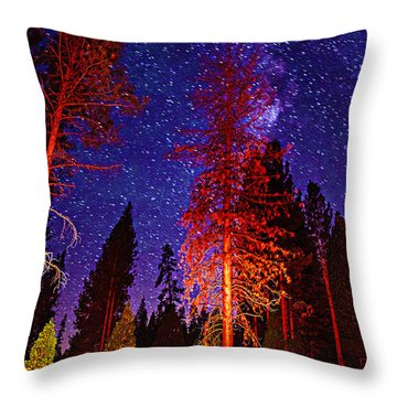 Throw Pillow featuring the photograph Galaxy Stars By The Campfire by Jerry Cowart