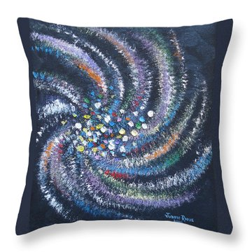 Throw Pillow featuring the painting Galaxy Swirl by Judith Rhue