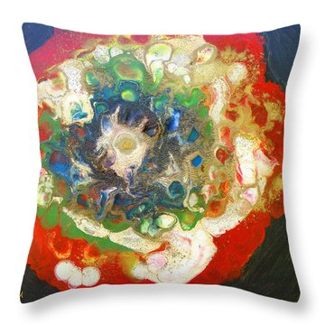 Galaxy With Solar Systems Throw Pillow by Augusta Stylianou