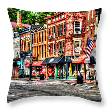 Galena Main Street Early Summer Morning Throw Pillow