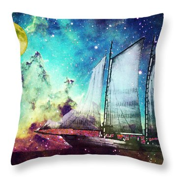 Galileo's Dream - Schooner Art By Sharon Cummings Throw Pillow