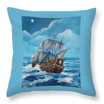 Galleon At Night Throw Pillow