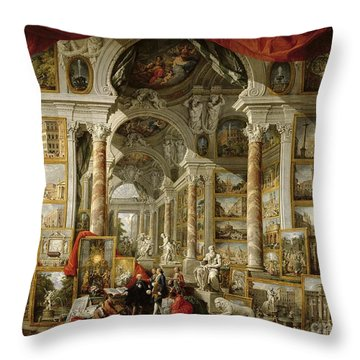 Gallery With Views Of Modern Rome Throw Pillow by Panini