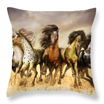 Galloping Horses Full Color Throw Pillow