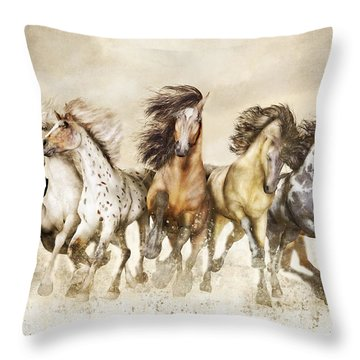Galloping Horses Magnificent Seven Throw Pillow