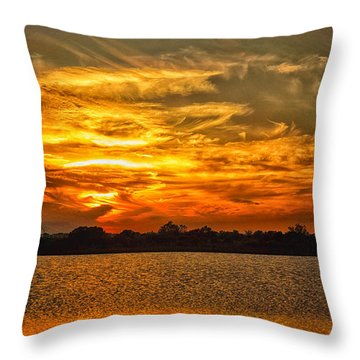 Galveston Island Sunset Dsc02805 Throw Pillow