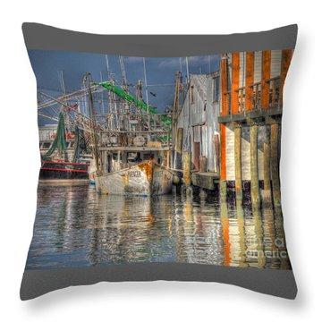 Throw Pillow featuring the photograph Galveston Shrimp Boats by Savannah Gibbs