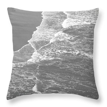 Galveston Tide In Grayscale Throw Pillow by Connie Fox